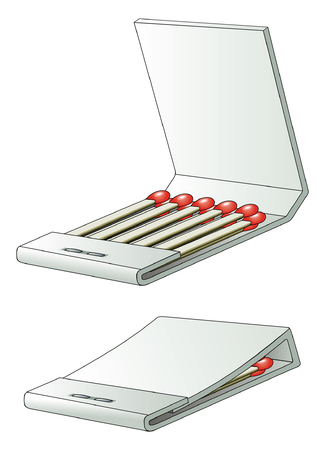 cerillos: Caja de cerillas es una ilustración de una caja de cerillas llena de partidos sin luz en una versión abierta y cerrada.
