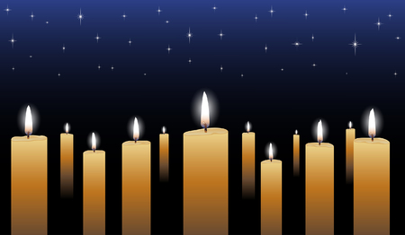 vigil: Candlelight Vigil is an illustration of many glowing candles with a midnight blue star filled background.
