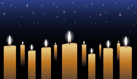 Candlelight Vigil is een illustratie van vele gloeiende kaarsen met een middernacht blauwe ster gevulde achtergrond.