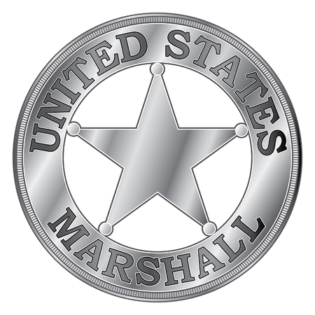 U. S. Marshall Badge is an illustration of a silver United States Marshall Badge with star. Illustration