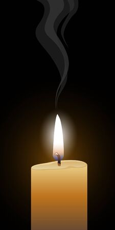 Candle Burning is an illustration of a single burning candle with glowing flame and a black background. Ilustracja