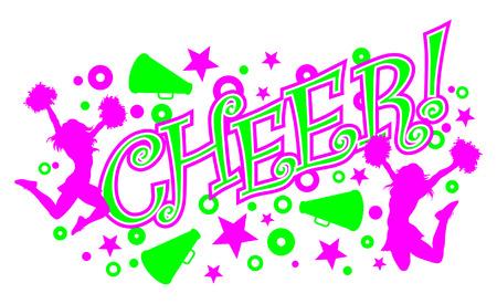 porrista: Cheer es una ilustraci�n de un dise�o de alegr�a rosa y verde vibrante con texto, dos porristas y meg�fonos.