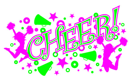 Cheer is an illustration of a vibrant pink and green cheer design with text, two cheerleaders and megaphones. Illustration