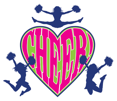 Cheer Heart is an illustration of a cheerleader design which includes three cheerleaders and the word cheer in a heart shaped design.