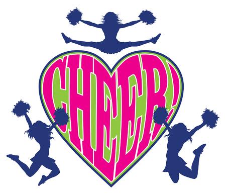 porrista: De la alegría del corazón es una ilustración de un diseño de la animadora que incluye tres porristas y la palabra alegría en un diseño en forma de corazón.
