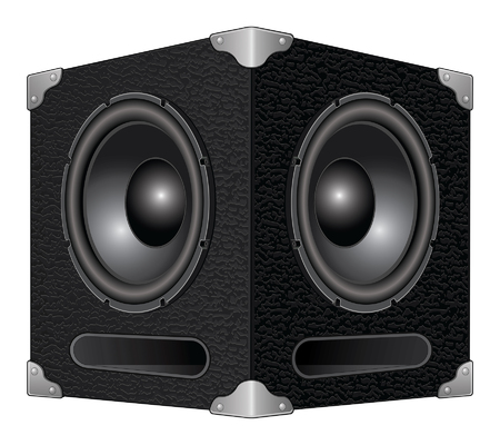 Speaker or Subwoofer is an illustration of a detailed woofer or subwoofer speaker box with two speakers. Illustration