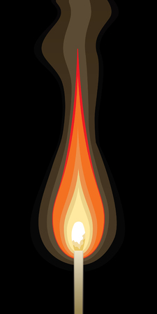 match: Match Burning-Graphic Style is an illustration of a single match burning with a black background in a graphic style.