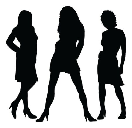 stylishly: Girls Posing is an illustration of silhouettes three different beautiful girls posing stylishly. Illustration