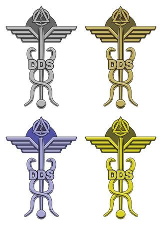 歯科シンボルで 4 色は、歯科、矯正歯科、その他歯科医療従事者による歯科シンボル使用のイラストです。