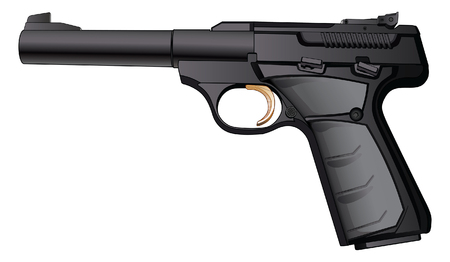 caliber: Gun Semi-Automatic 22 Caliber is a detailed illustration of a modern black semi-automatic 22 Caliber pistol.