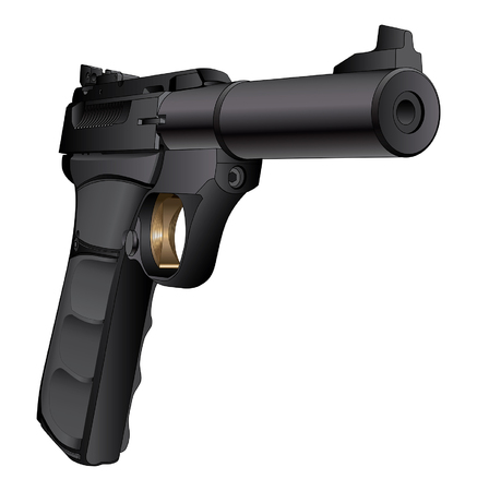 caliber: Gun Semi-Auto 22 Caliber is a detailed three quarter view illustration of a modern black semi-automatic 22 Caliber pistol.