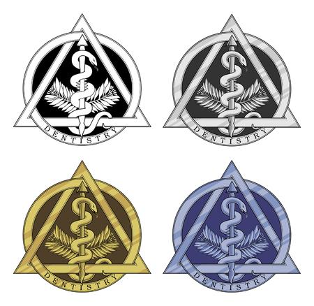 歯科のシンボル - 4 つのバージョンは、黒と白、銀、金および青のバージョンで歯科シンボルのイラストです。
