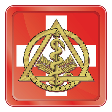 Dental Emergency Symbol is an illustration of the gold dentistry symbol inside of an emergency type symbol or icon.