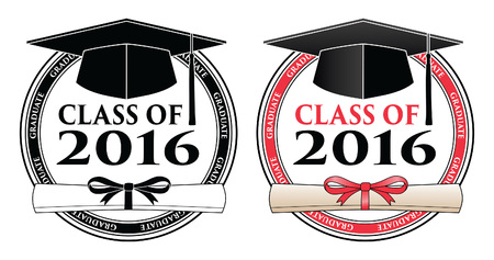 Graduating Class of 2016 is a design in black and white and color that shows your pride as a graduate of the class of 2016. Includes a cap, text and diploma. Great for t-shirt designs. Stock Illustratie
