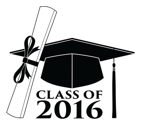 Graduate - Class of 2016 is an illustration of a design that shows your pride as a graduate of the class of 2016. Includes a cap, text and diploma. Great for t-shirt designs. Stock Illustratie