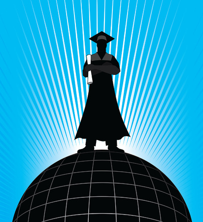 accomplishment: Graduate - On Top of the World is an illustration of a graduate standing on top of the world representing the success and accomplishment of graduating.
