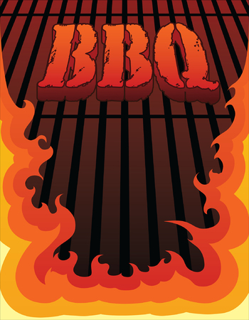 BBQ Design is an illustration of a barbeque or barbecue design with fire or flames that can be used as a template for things such as invites