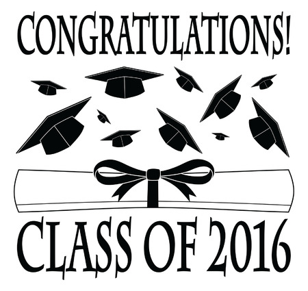 thrown: Congratulations Class of 2016 is an illustration of a graduation design with caps thrown into the air, a diploma, and text. Great for  invitations or t-shirts.