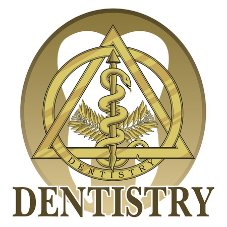 Dentistry Symbol Design is an illustration of a design or template including a gold dentistry symbol that could be used for logos or signs for dentists or dental labs.