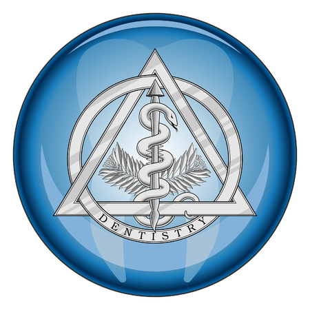 Dentistry Medical Symbol Button is an illustration of a silver dentistry or dental symbol in a shiny blue button shape. Illustration
