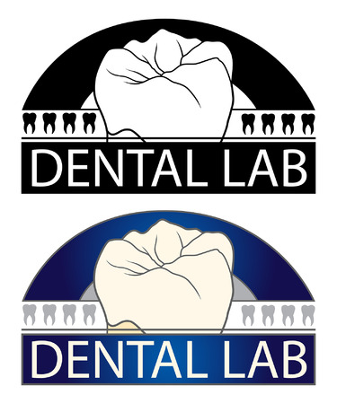 치과 실험실 치과 실험실 또는 치과 관련된 비즈니스에 대 한 디자인의 그림입니다. 치아 그래픽이 포함되어 있으며 흑백 및 풀 컬러 버전으로 제공됩