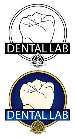 치과 실험실 디자인 치과 실험실 또는 치과 관련된 사업에 대 한 디자인의 그림입니다. 치아 그래픽, 치과 기호를 포함하며 흑백 및 풀 컬러 버전으로