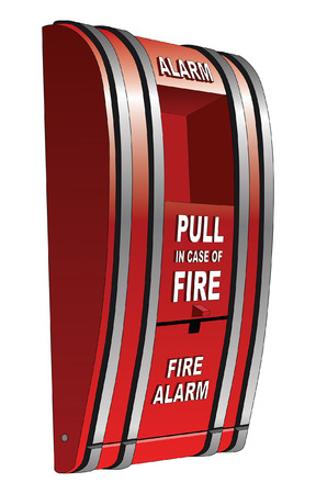 fire alarm: Fire Alarm Isolated is an illustration of a red pull type fire alarm that is common in public buildings such as schools. Illustration