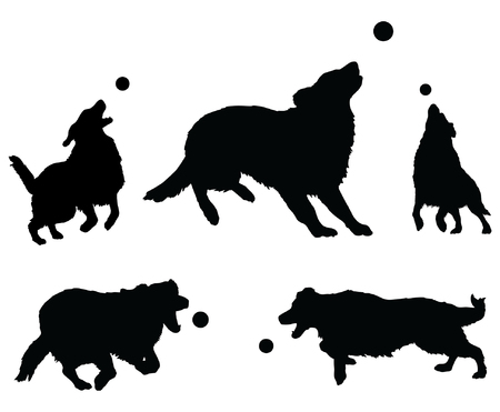 golden retriever puppy: Dogs Playing With Ball is an illustration of five dogs or Golden Retrievers in silhouette jumping for and playing with a ball.