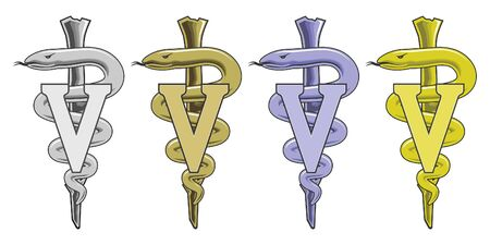 veterinary symbol: Medical Symbol - Veterinarian is an illustration of the veterinary medical symbol in silver, gold, blue and yellow.