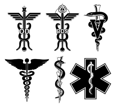 Medical Symbols-Graphic is an illustration of six medical symbols. Optometry, dentistry, veterinary, Caduceus, Rod of Asclepius, and the Star of Life. Ilustrace
