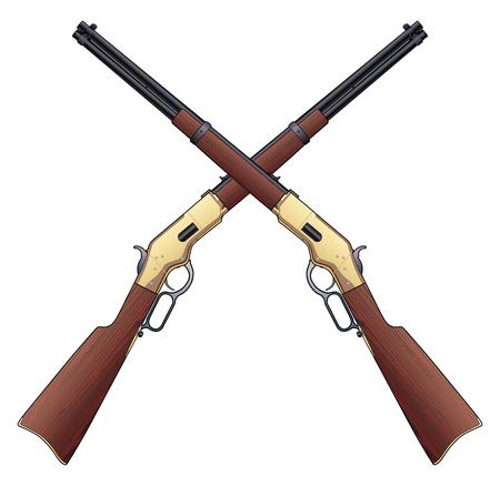 Rifles Crossed è un'illustrazione di due fucili vintage in un design incrociato.