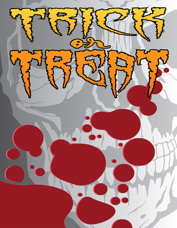 Halloween Trick or Treat is an illustration of a Halloween trick or treat design that could be used for flyers, invitations, posters, etc. Includes a human skull, blood splatter and stylized text.
