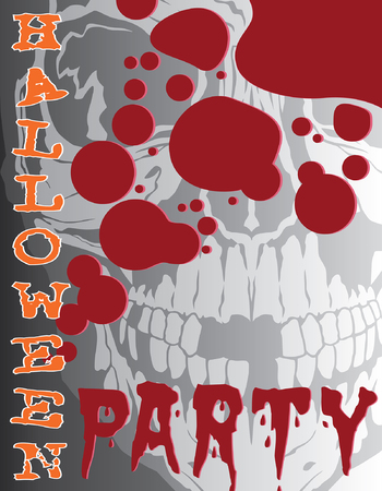 Halloween Party is an illustration of a Halloween party design that could be used for flyers, invitations, posters, etc. Includes a human skull, blood splatter and text. Illustration