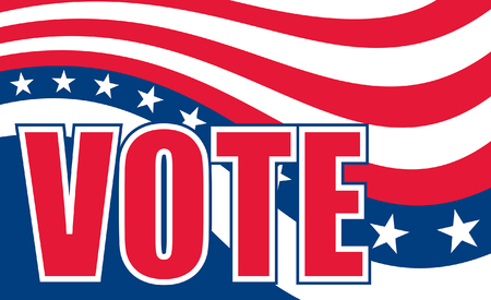 Vote Design is an illustration of a design to encourage people to go out and vote on election day. Includes colors similar to the stars and stripes of the U.S.A. flag and text.