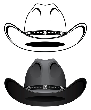 Cowboy Hat is an illustration of a cowboy hat in a simple one color version and a more complex version with gradients.