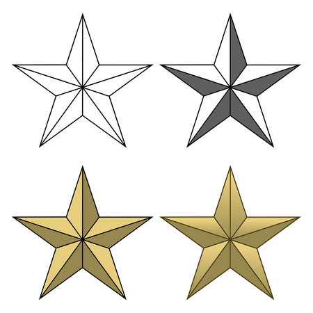 black star: Star Shape is an illustration of four different star shapes going from a simple black and white to a full color version.