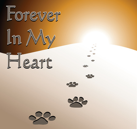 honoring: Dog Memorial - Forever In My Heart is an illustration of a memorial design honoring the loss of a dog. Includes fading dog footprints and text.