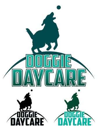 doggie: Doggie Daycare is an illustration of a design for a dog daycare. Includes a dog playing with a ball and text. Comes in back and white and more complex color designs.