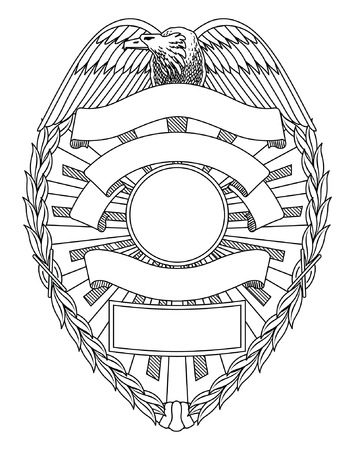 Badge Police Blank est une illustration d'un insigne de police ou de maintien de l'ordre avec l'espace ouvert pour votre texte spécifique tels que l'emplacement, numéro de badge, etc. Banque d'images - 70863014