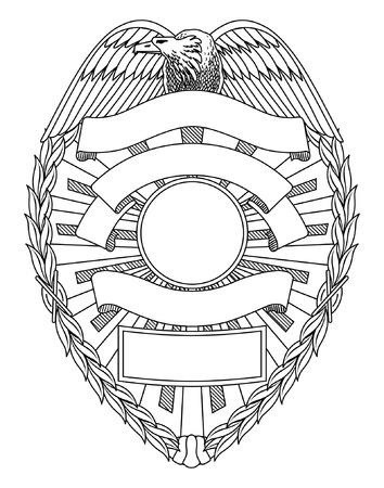 La divisa de la policía en blanco es una ilustración de una insignia de la policía o de aplicación de ley con el espacio abierto para su texto específico tal como localización, número de la insignia, etc.