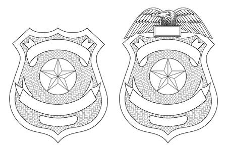 Il distintivo o lo scudo dell'applicazione della legge di polizia è un'illustrazione di un distintivo di polizia o di legge con e senza l'aquila in cima. Include uno spazio aperto per il testo specifico, ad esempio posizione, numero di badge, ecc. Archivio Fotografico - 70962537