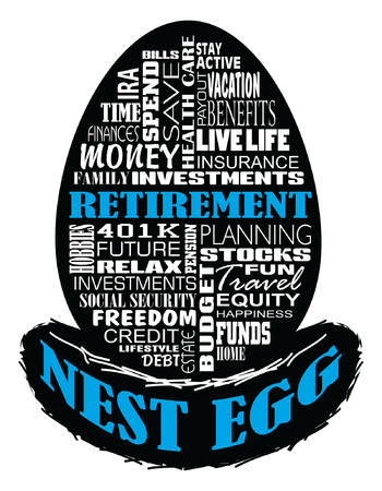 Retirement - Nest Egg is an illustration of an egg shape containing retirement related text sitting on a nest shaped silhouette. Represents retirement planning, problems and rewards.