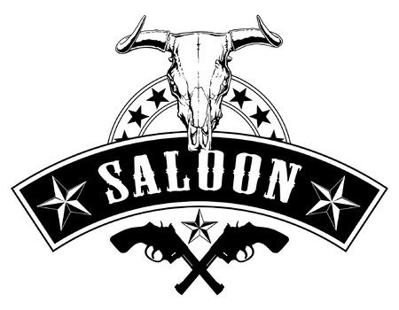 Western Saloon Design è un'illustrazione di un design nello stile del vecchio west negli Stati Uniti che potrebbe essere usato come un segno di berlina. Include pistole incrociate, stelle e un teschio di toro. Archivio Fotografico - 72857365