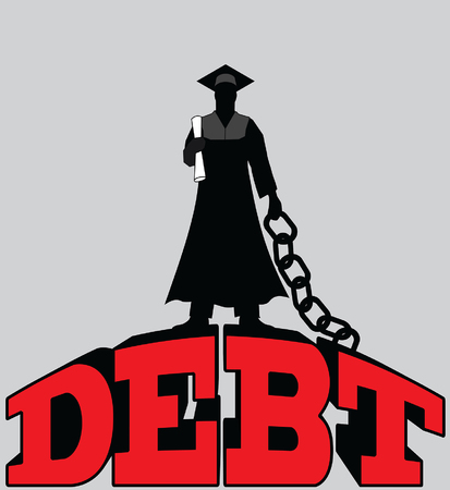 College  Debt - Graduate Chained is an illustration of a graduate in cap and gown standing on top of and chained to giant debt.