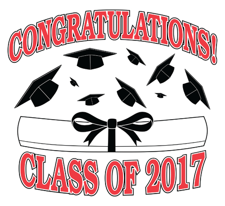 Congratulations Class of 2017 is an illustration of a graduation design with caps thrown into the air, a diploma, and text. Great for flyers, invitations or t-shirts.