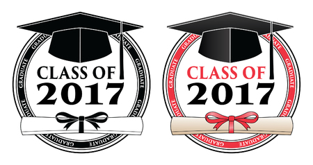 commencement: Graduating Class of 2017 - Vector is a design in color or in black and white that shows your pride as a graduate of the class of 2017. Includes a cap, text and diploma. Great for graduation t-shirt designs.