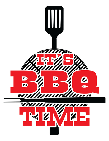 Its BBQ Time - Vector is an illustration of a cookout or bbq design with a grill top, spatula, fork and It's BBQ Time text. Great for cookout or barbecue flyers, invitations or t-shirts.