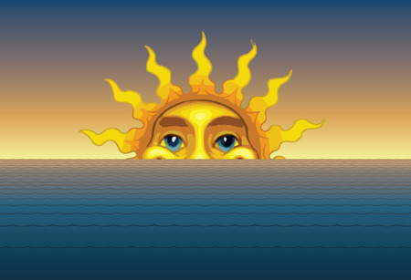 Sunrise or Sunset is an illustration of the sun rising or setting from behind the waves of the sea or ocean.