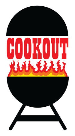 Cookout With Grill is an illustration of a cookout or barbecue design that includes a grill, flames and cookout text. Great for cookout or barbecue flyers, invitations or t-shirts.