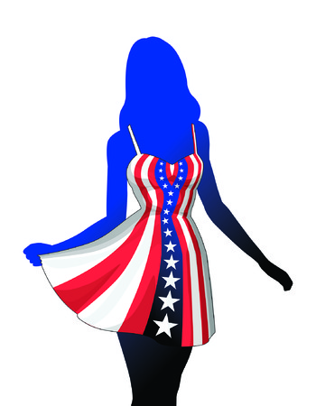 Woman in American Patriotic Dress is an illustration of a silhouette of an beautiful woman or girl in a patriotic American red, white and blue dress. Dress is made of a stars and stripes design. Ilustrace